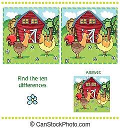 dix, différences, -, enfants, jeu, trouver