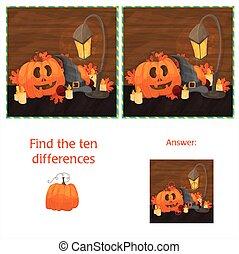 dix, différences, halloween, deux, potirons, entre, images, trouver
