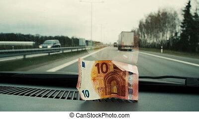 dix, euros, voiture, haut, placé, verre., devant, fin