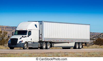 dix-huit, roue, industrie, derrick, caravane, camionnage, tracteur, highway., grand