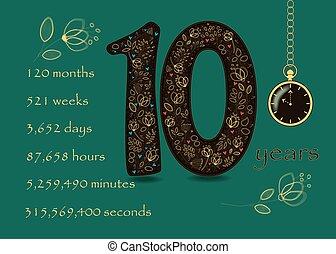 dix, montre, nombre, poche, floral, carte