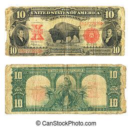 dix, note, dollar, devise usa, 1901