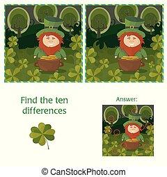 dix, puzzle, différences, -, trouver, patricks, visuel, rue., jour