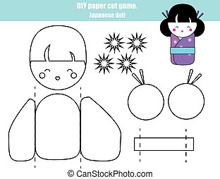 DIY children educational creative game. Make a japanese doll girl with scissors and glue. Printable paprecut activity.