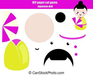 DIY children educational creative game. Make a japanese doll girl with scissors and glue. Paprecut activity. Creative printable tutorial for kids