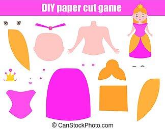 DIY children educational creative game. Make a princess girl with scissors and glue. Paprecut activity. Creative printable tutorial for kids
