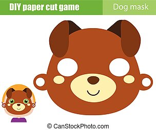 DIY children educational creative game. Make an animal party mask with scissors. Dog face paper mask for kids printable sheet