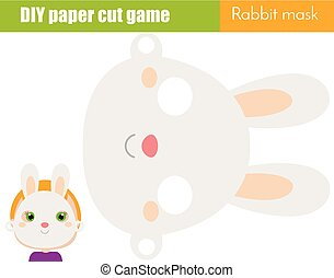 DIY children educational creative game. Make an animal party mask with scissors. Rabbit face paper mask for kids printable sheet