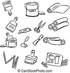 diy decorating tools - cartoon drawings of DIY tools for...