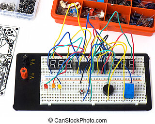 DIY electronics on breadboard - Electronic circuit on a...
