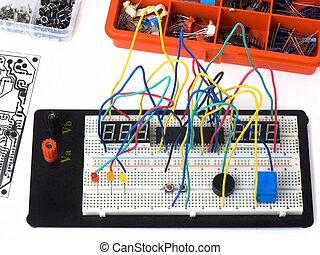diy, elektronik, på, bakbord