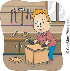 DIY Furniture - Illustration of a Man Constructing a Table...