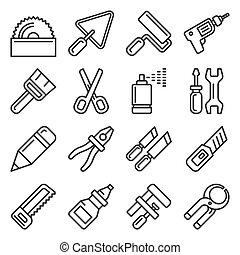 DIY Hand Tools Icons Set. Line Style Vector