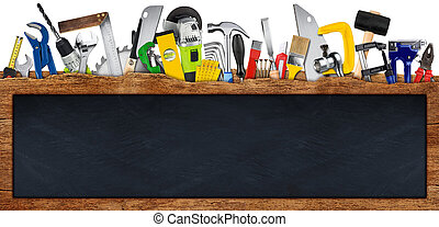 DIY handtools collage concept behind wooden wide panorama plank with blank empty slate stone blackboard copy space isolated on white background