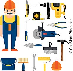 DIY home repairs power and hand tools decorative set in flat style with workman isolated vector illustration