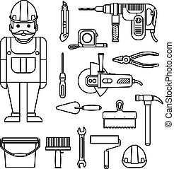 DIY home repairs power and hand tools decorative set in line style with workman isolated vector illustration