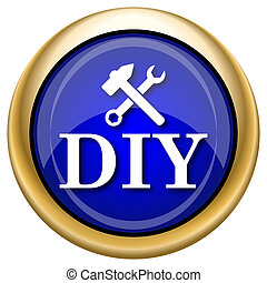 DIY icon - Shiny glossy icon with white design on blue and...