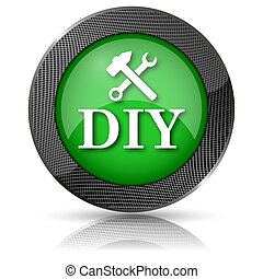 DIY icon - Shiny glossy icon with white design on green...