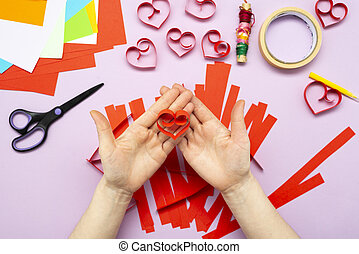 DIY instruction. Step by step guide. The process of making a garland of hearts for Valentine's Day