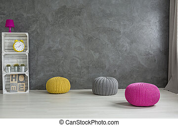Wool pouf and crate rack- DIY trendy furniture ideas