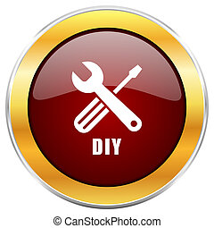 Diy red web icon with golden border isolated on white background. Round glossy button.