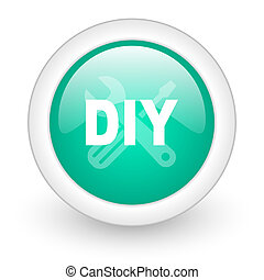 diy round glossy web icon on white background