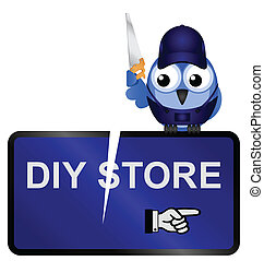 DIY Store Sign - Comical vandalized DIY Store Sign isolated...