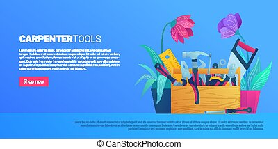 DIY store web banner with carpenter tools
