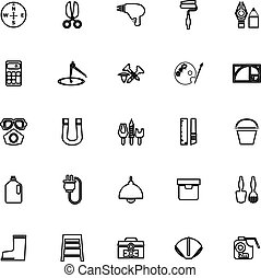 DIY tool line icons on white background