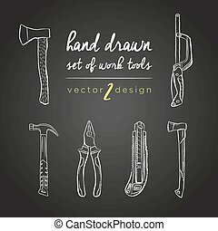 DIY tools. Set of hand-drawn vector work tools. Tools vector Repair Icons for work