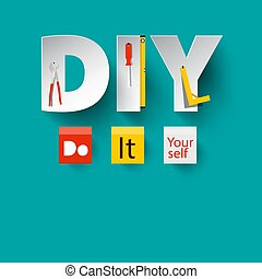 DIY - Vector Do it Yourself Design with Paper Cut Letters...