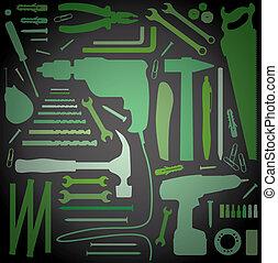 diy, verktyg, -, silhuett, illustration