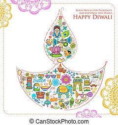 diya, もの, diwali, インド, 関係した, 形, 背景, 幸せ