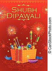 diya, 火, インド, diwali, クラッカー, 飾られる, 休日, 幸せ