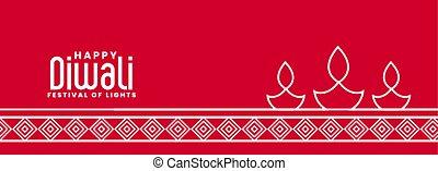 diya, 線, 旗, 流行, diwali, ランプ, 赤, スタイル