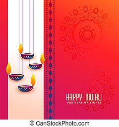 diya, festival, diwali, hils, indisk, konstruktion, hængende