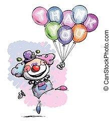 dizendo, agradecer, -, palhaço, cores, bebê, tu, balões