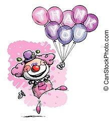dizendo, agradecer, -, palhaço, cores, tu, balões, menina