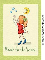 dizendo, alcance, a, estrelas