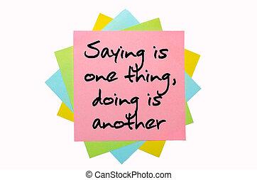 """dizendo, """", coisa, texto, notas, um, fonte, escrito, outro, mão, grupo, pegajoso, colorido"""