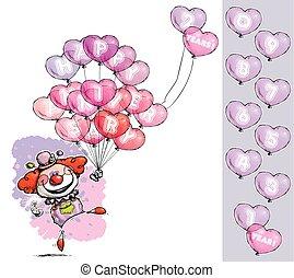dizendo, coração, aniversário, palhaço, balões, feliz