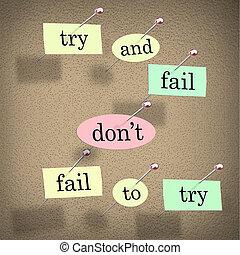 dizendo, faça, motivational, tentar, tábua, palavras, falha