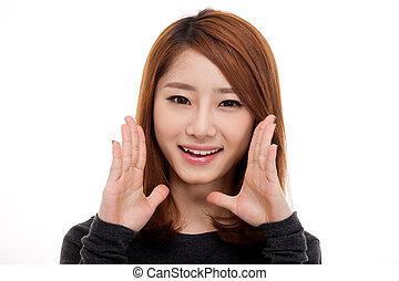 dizendo, mulher, jovem, asiático