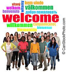 dizendo, multi, grupo, pessoas, bem-vindo, jovem, tag,...