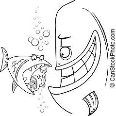 dizendo, peixe, caricatura, maior