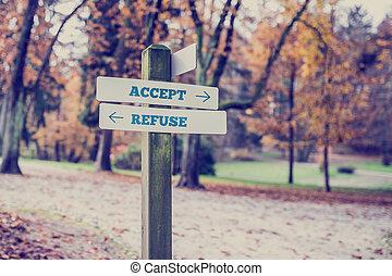 dizendo, refugo, signboard, -, dois, aceitar, sinais