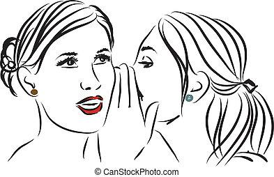 dizendo segredo, ilustração, mulheres