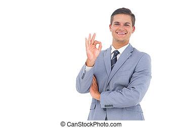 dizendo, seu,  ok, homem negócios, mão