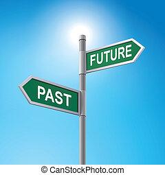 dizendo, sinal, passado, futuro, estrada, 3d