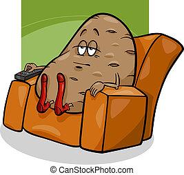 dizendo, sofá, caricatura, batata